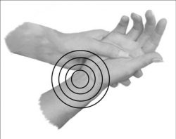 A person holding their hand but the target is placed over their wrist